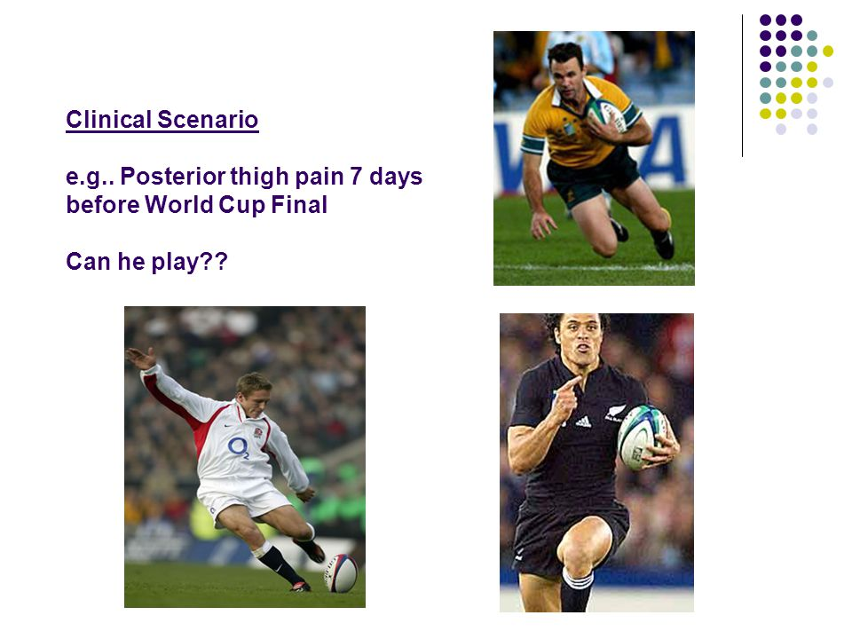 Clinical Scenario e.g.. Posterior thigh pain 7 days before World Cup Final Can he play??