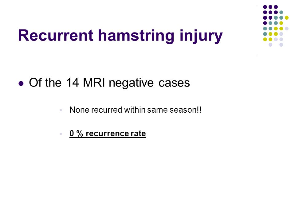 Recurrent hamstring injury Of the 14 MRI negative cases None recurred within same season!.