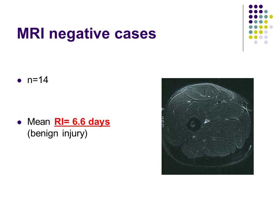 MRI negative cases n=14 Mean RI= 6.6 days (benign injury)