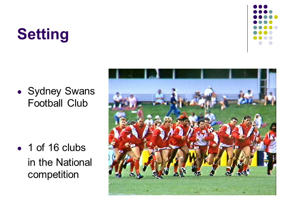 Setting Sydney Swans Football Club 1 of 16 clubs in the National competition