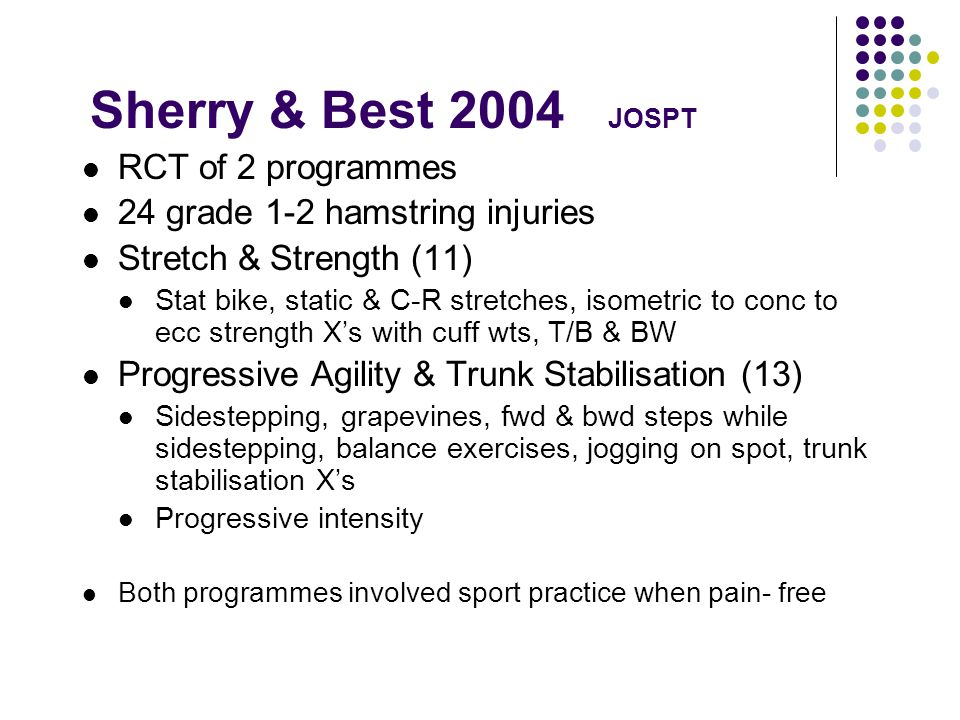 Sherry & Best 2004 JOSPT RCT of 2 programmes 24 grade 1-2 hamstring injuries Stretch & Strength (11) Stat bike, static & C-R stretches, isometric to conc to ecc strength Xs with cuff wts, T/B & BW Progressive Agility & Trunk Stabilisation (13) Sidestepping, grapevines, fwd & bwd steps while sidestepping, balance exercises, jogging on spot, trunk stabilisation Xs Progressive intensity Both programmes involved sport practice when pain- free
