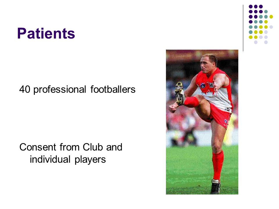 Patients 40 professional footballers Consent from Club and individual players