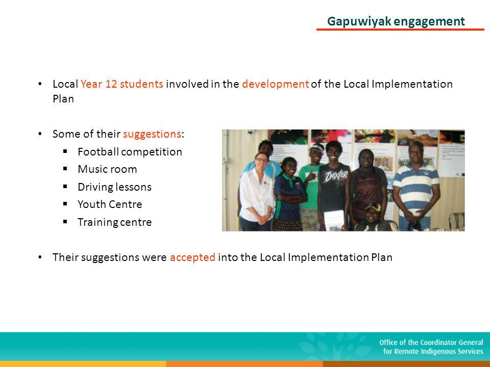 Local Year 12 students involved in the development of the Local Implementation Plan Some of their suggestions: Football competition Music room Driving lessons Youth Centre Training centre Their suggestions were accepted into the Local Implementation Plan Gapuwiyak engagement
