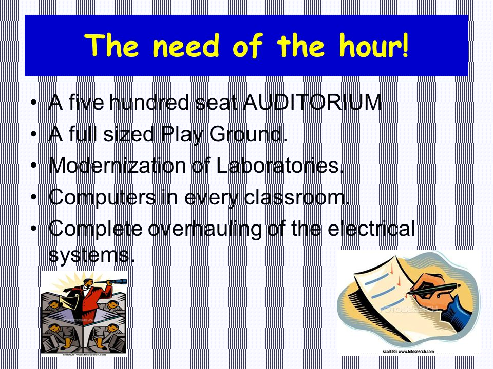 The need of the hour! A five hundred seat AUDITORIUM A full sized Play Ground. Modernization of Laboratories. Computers in every classroom. Complete o