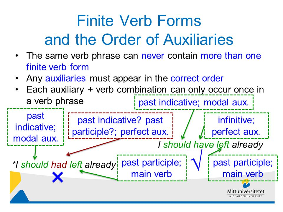 Finite Verb Forms and the Order of Auxiliaries 12 The same verb phrase can never contain more than one finite verb form Any auxiliaries must appear in the correct order Each auxiliary + verb combination can only occur once in a verb phrase *I should had left already I should have left already past indicative; modal aux.
