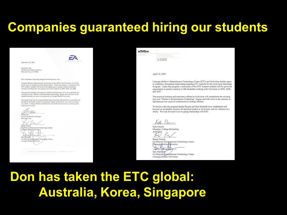 Companies guaranteed hiring our students Don has taken the ETC global: Australia, Korea, Singapore