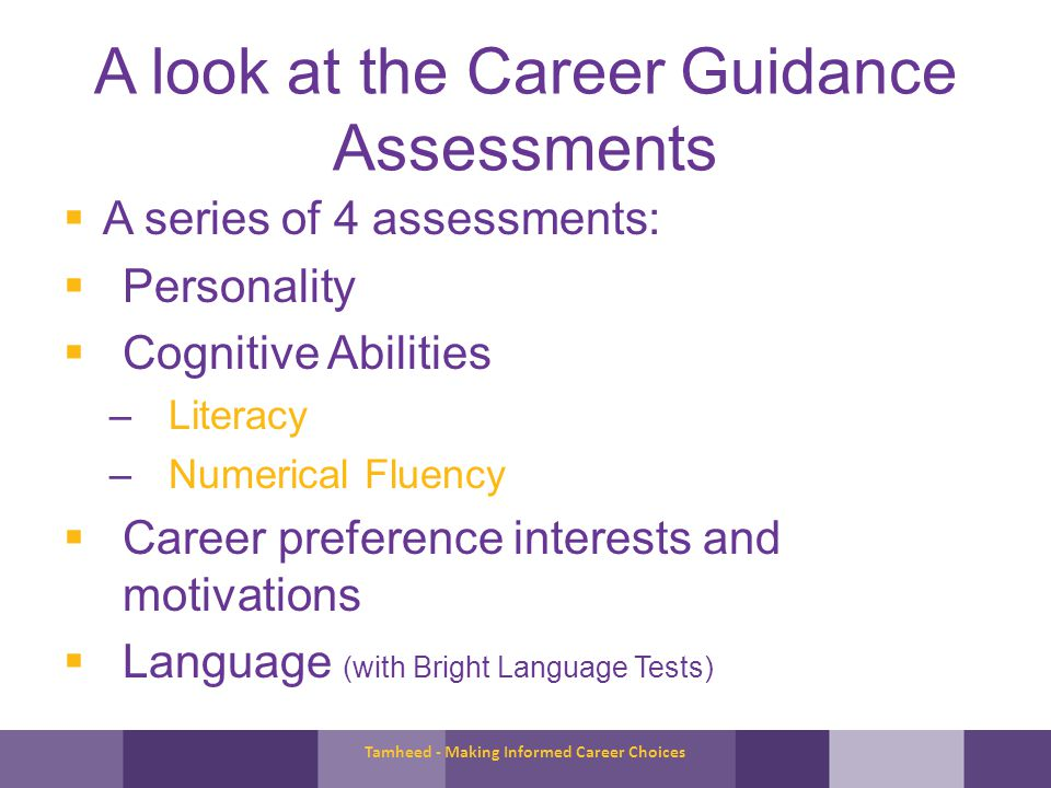 A look at the Career Guidance Assessments A series of 4 assessments: Personality Cognitive Abilities –Literacy –Numerical Fluency Career preference interests and motivations Language (with Bright Language Tests) Tamheed - Making Informed Career Choices