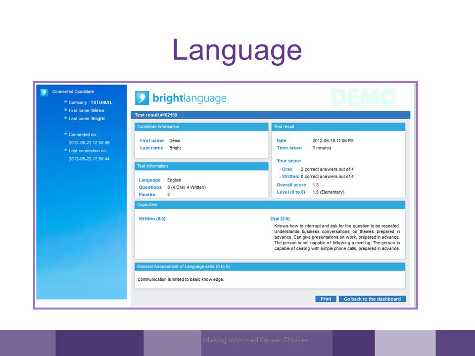 Language Tamheed - Making Informed Career Choices
