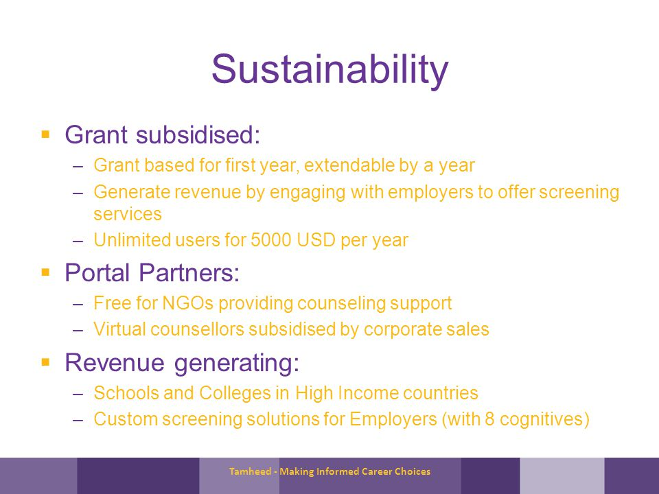 Sustainability Grant subsidised: –Grant based for first year, extendable by a year –Generate revenue by engaging with employers to offer screening services –Unlimited users for 5000 USD per year Portal Partners: –Free for NGOs providing counseling support –Virtual counsellors subsidised by corporate sales Revenue generating: –Schools and Colleges in High Income countries –Custom screening solutions for Employers (with 8 cognitives) Tamheed - Making Informed Career Choices