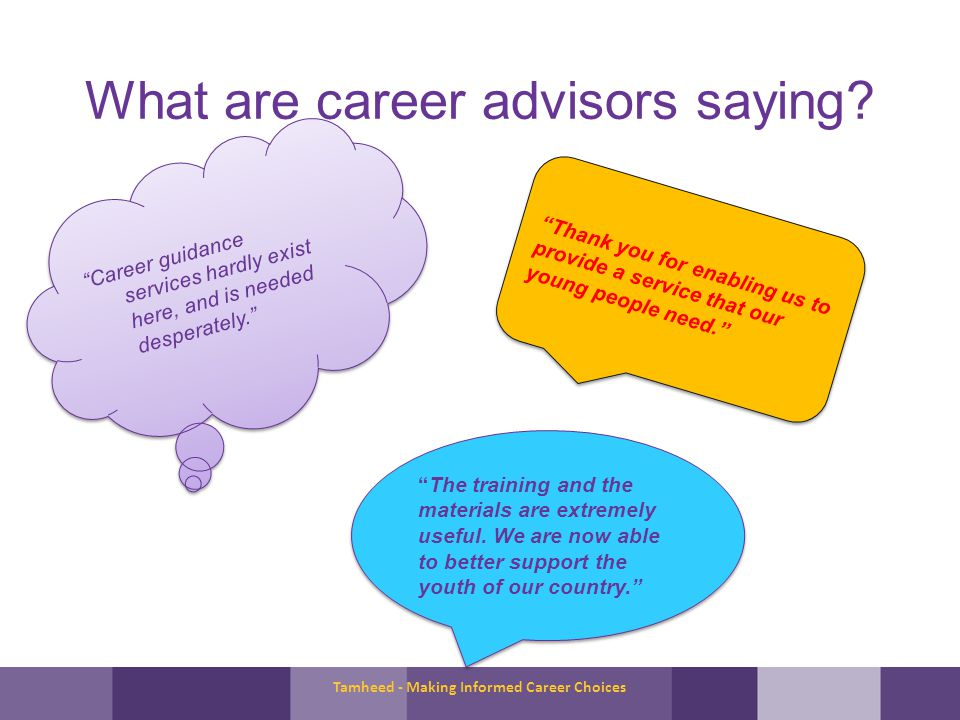 What are career advisors saying.