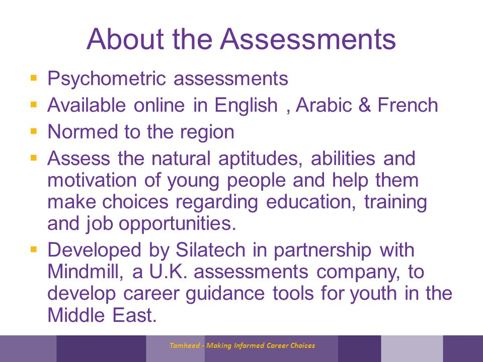 Tamheed = online assessments + so much more Tamheed is also: –supporting young people through quality career guidance and links to activities and interventions; –Building the capacity of career advisors –Providing an action-oriented career guidance framework for organizations that support youth employment..