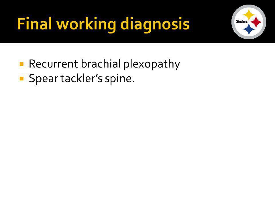 Recurrent brachial plexopathy Spear tacklers spine.