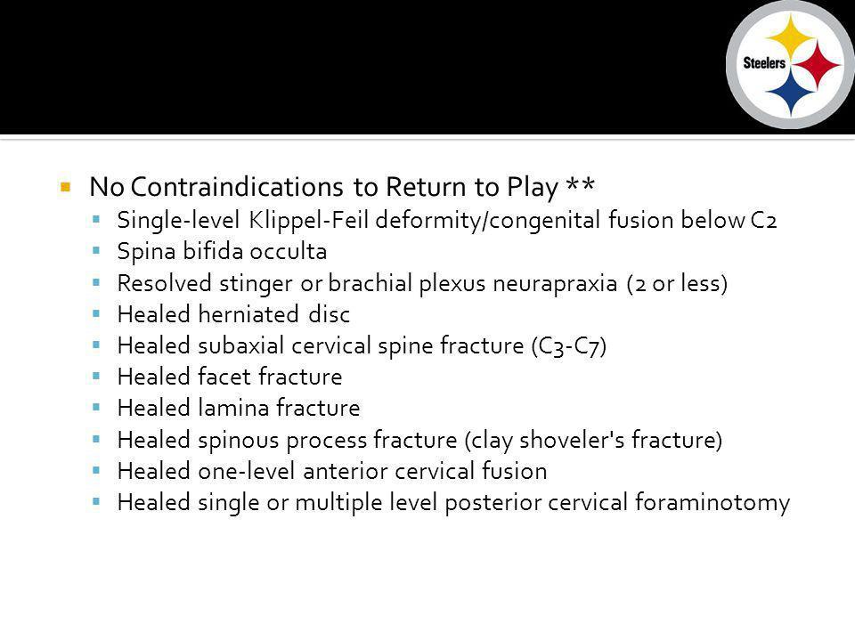 No Contraindications to Return to Play ** Single-level Klippel-Feil deformity/congenital fusion below C2 Spina bifida occulta Resolved stinger or brac