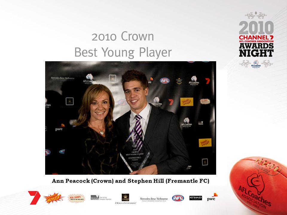 Ann Peacock (Crown) and Stephen Hill (Fremantle FC)