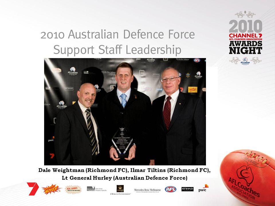 Dale Weightman (Richmond FC), Ilmar Tiltins (Richmond FC), Lt General Hurley (Australian Defence Force)