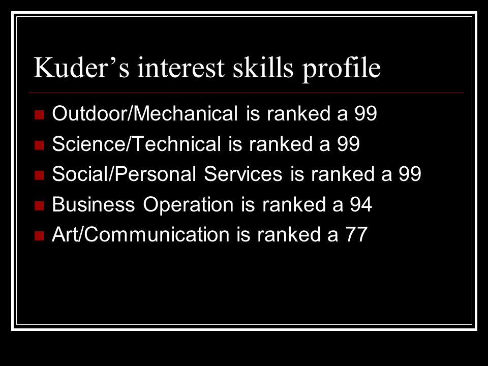 #1 ranked skill area is outdoor/mechanical The career I picked for outdoor/mechanical is aquatic welding