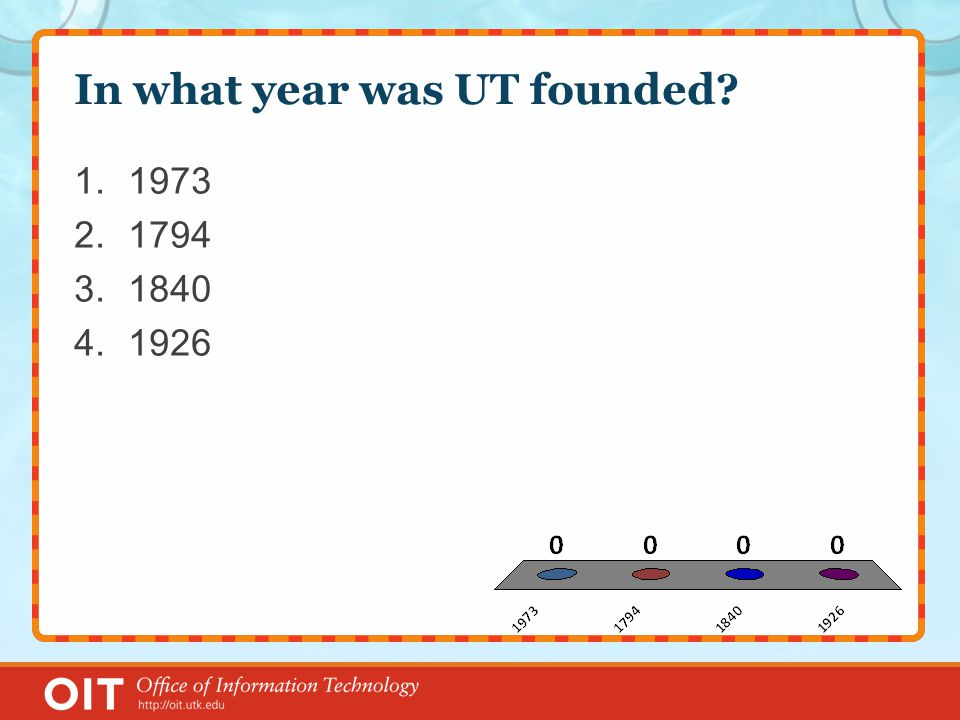 In what year was UT founded 1.1973 2.1794 3.1840 4.1926
