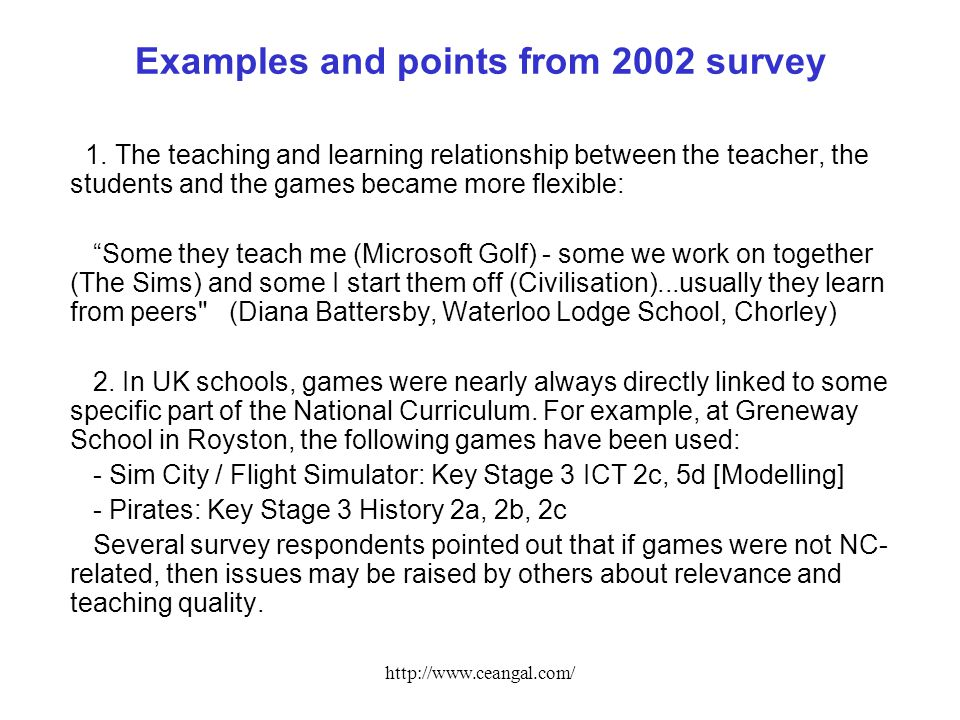 http://www.ceangal.com/ Examples and points from 2002 survey 1.