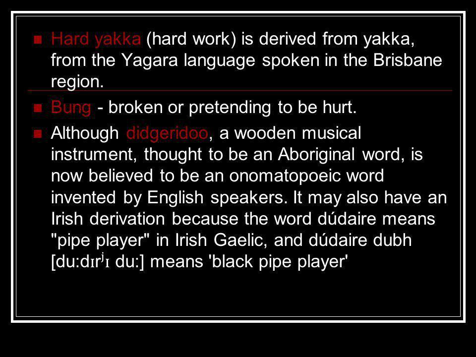 Hard yakka (hard work) is derived from yakka, from the Yagara language spoken in the Brisbane region. Bung - broken or pretending to be hurt. Although