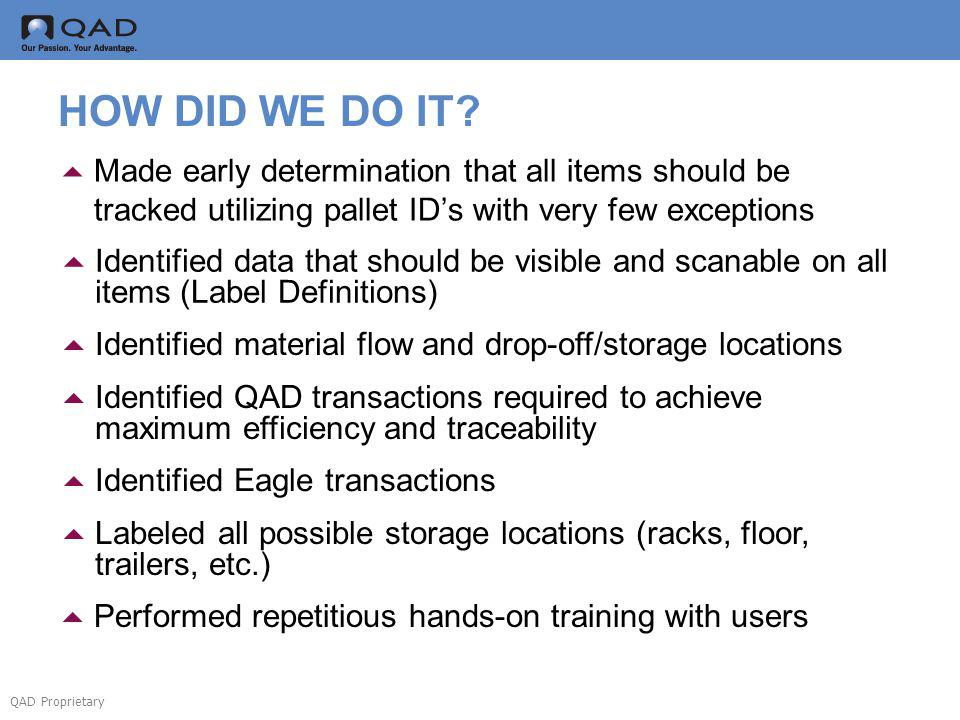 QAD Proprietary HOW DID WE DO IT? Made early determination that all items should be tracked utilizing pallet IDs with very few exceptions Identified d