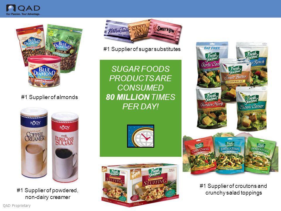 QAD Proprietary SUGAR FOODS PRODUCTS ARE CONSUMED 80 MILLION TIMES PER DAY! #1 Supplier of sugar substitutes #1 Supplier of powdered, non-dairy creame