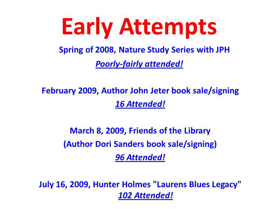 Early Attempts Spring of 2008, Nature Study Series with JPH Poorly-fairly attended.