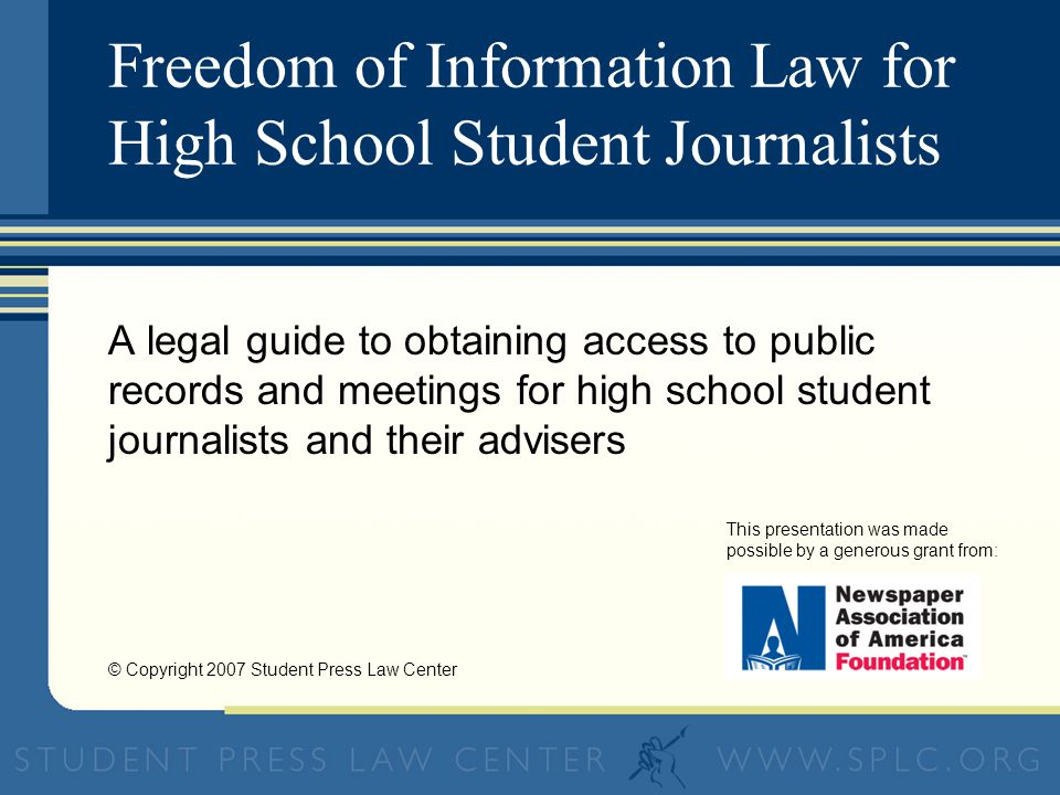 © Copyright 2007 Student Press Law Center