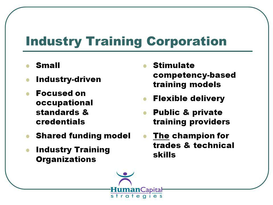 Industry Training Corporation Small Industry-driven Focused on occupational standards & credentials Shared funding model Industry Training Organizations Stimulate competency-based training models Flexible delivery Public & private training providers The champion for trades & technical skills