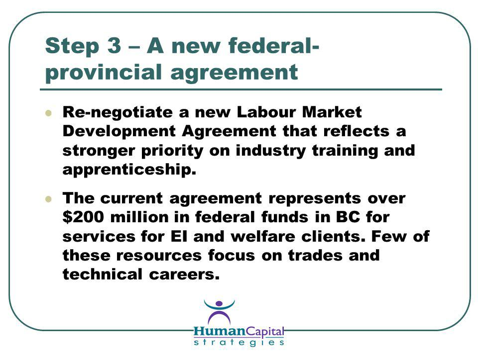 Step 3 – A new federal- provincial agreement Re-negotiate a new Labour Market Development Agreement that reflects a stronger priority on industry training and apprenticeship.