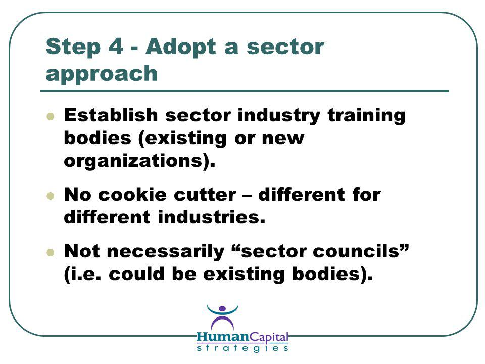 Step 4 - Adopt a sector approach Establish sector industry training bodies (existing or new organizations).