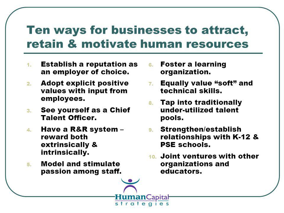 Ten ways for businesses to attract, retain & motivate human resources 1.