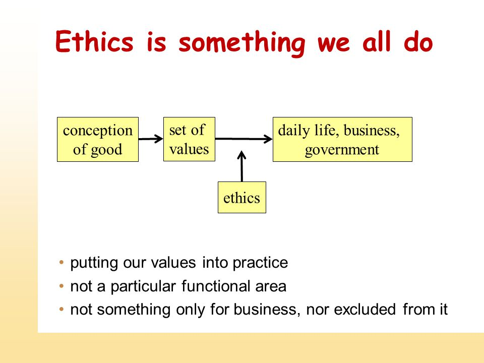 Ethics is something we all do putting our values into practice not a particular functional area not something only for business, nor excluded from it ethics set of values conception of good daily life, business, government