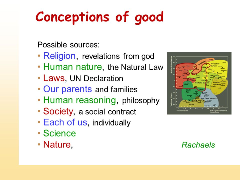 Conceptions of good Possible sources: Religion, revelations from god Human nature, the Natural Law Laws, UN Declaration Our parents and families Human reasoning, philosophy Society, a social contract Each of us, individually Science Nature, Rachaels