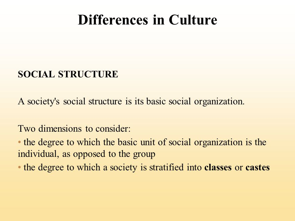 Differences in Culture SOCIAL STRUCTURE A society's social structure is its basic social organization. Two dimensions to consider: the degree to which
