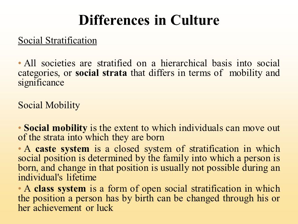Differences in Culture Social Stratification All societies are stratified on a hierarchical basis into social categories, or social strata that differ