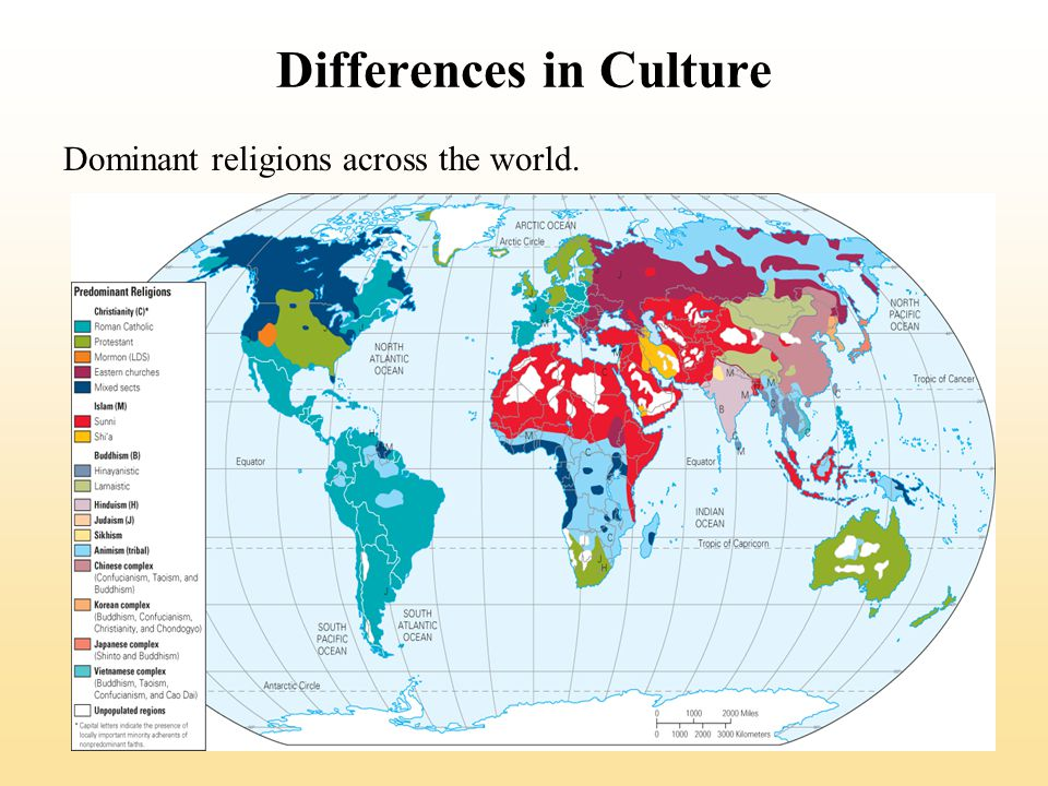 Differences in Culture Dominant religions across the world.