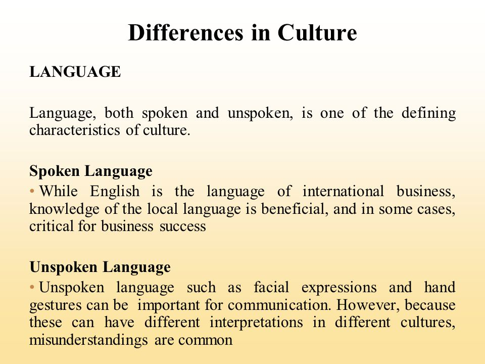 Differences in Culture LANGUAGE Language, both spoken and unspoken, is one of the defining characteristics of culture. Spoken Language While English i