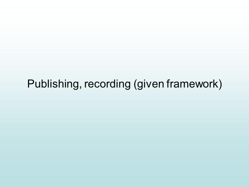 Publishing, recording (given framework)
