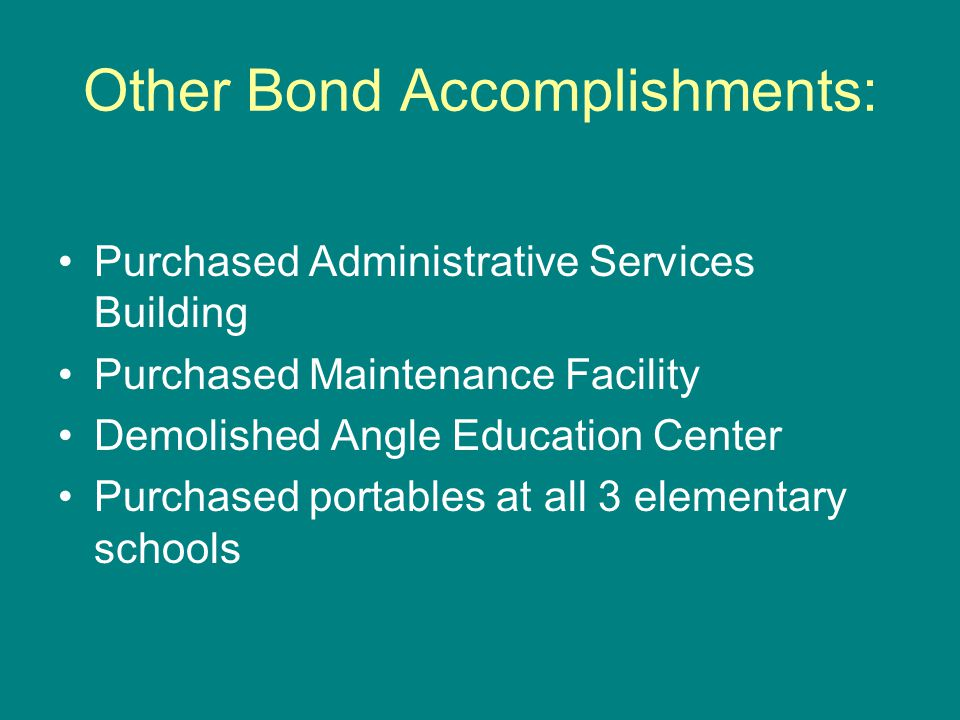 Other Bond Accomplishments: Purchased Administrative Services Building Purchased Maintenance Facility Demolished Angle Education Center Purchased portables at all 3 elementary schools
