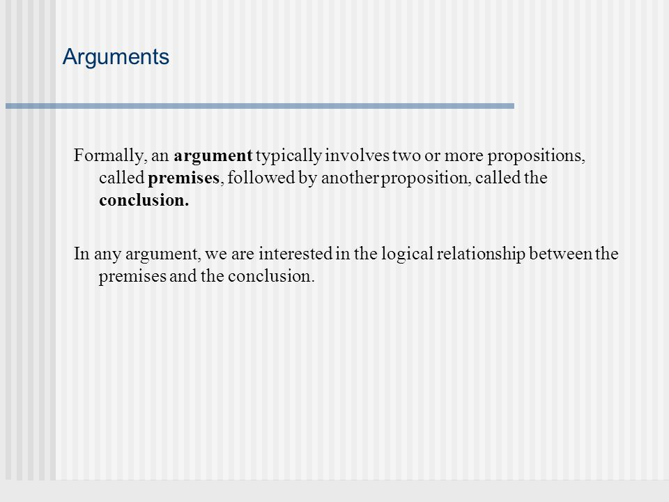 Two simple arguments Here are two examples of short arguments, such as a prosecutor might make in summarizing his/her case to the jury at the end of a trial.