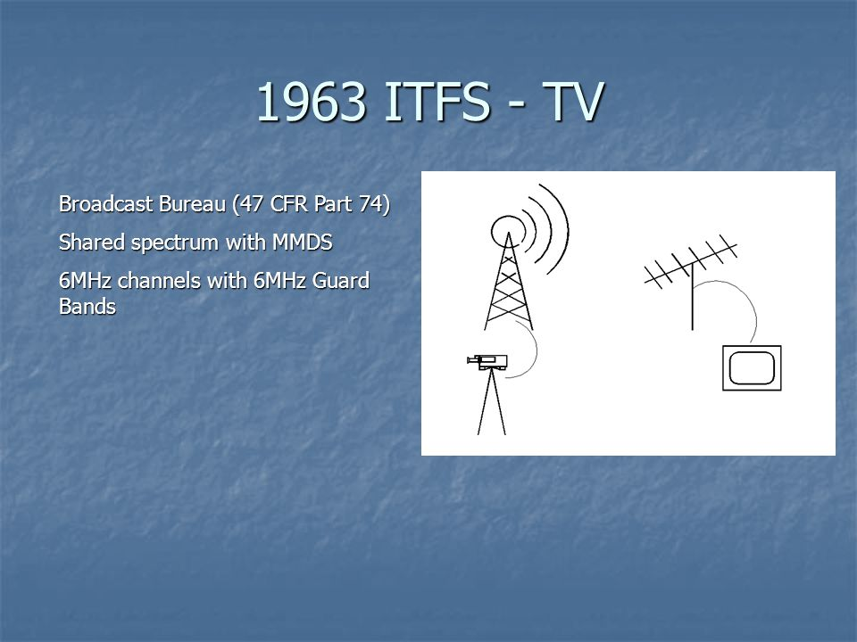 1963 ITFS - TV Broadcast Bureau (47 CFR Part 74) Shared spectrum with MMDS 6MHz channels with 6MHz Guard Bands