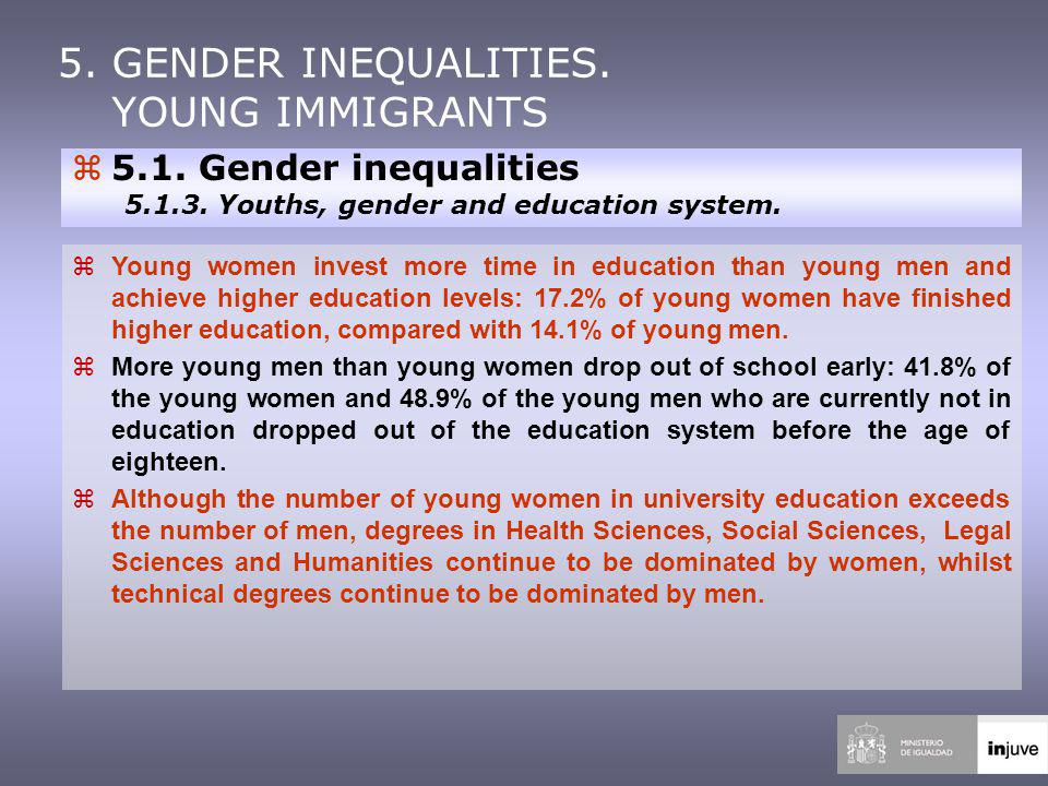 z5.1. Gender inequalities 5.1.3. Youths, gender and education system.