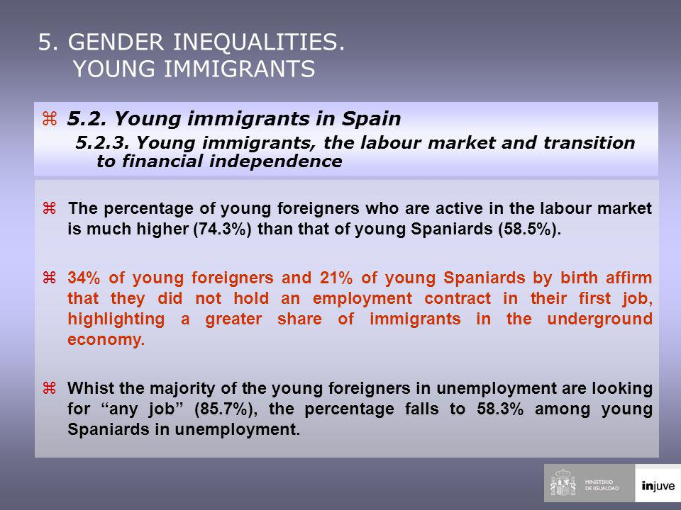 zThe percentage of young foreigners who are active in the labour market is much higher (74.3%) than that of young Spaniards (58.5%).