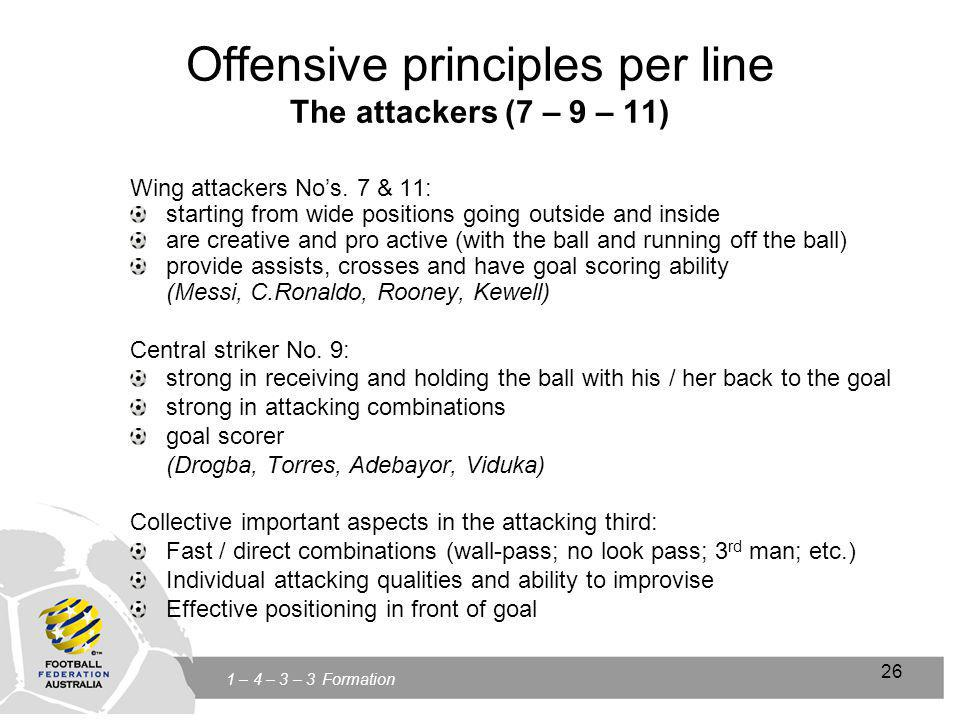 Click to edit Master title style Click to edit Master text styles Second level Third level Fourth level Fifth level 26 1 – 4 – 3 – 3 Formation 26 Offensive principles per line The attackers (7 – 9 – 11) Wing attackers Nos.