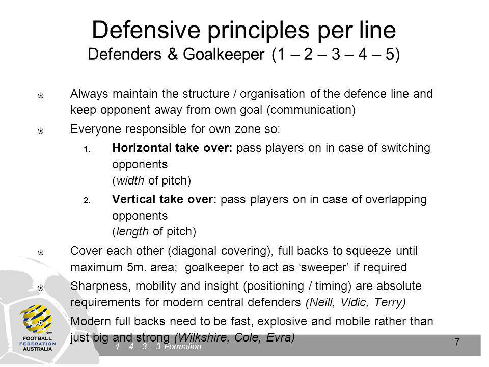 Click to edit Master title style Click to edit Master text styles Second level Third level Fourth level Fifth level 7 1 – 4 – 3 – 3 Formation 7 Defensive principles per line Defenders & Goalkeeper (1 – 2 – 3 – 4 – 5) Always maintain the structure / organisation of the defence line and keep opponent away from own goal (communication) Everyone responsible for own zone so: 1.