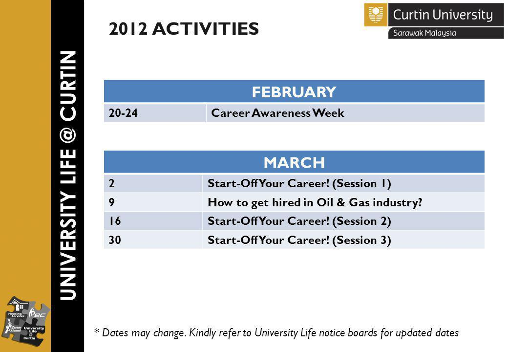UNIVERSITY LIFE @ CURTIN 2012 ACTIVITIES FEBRUARY 20-24Career Awareness Week * Dates may change.
