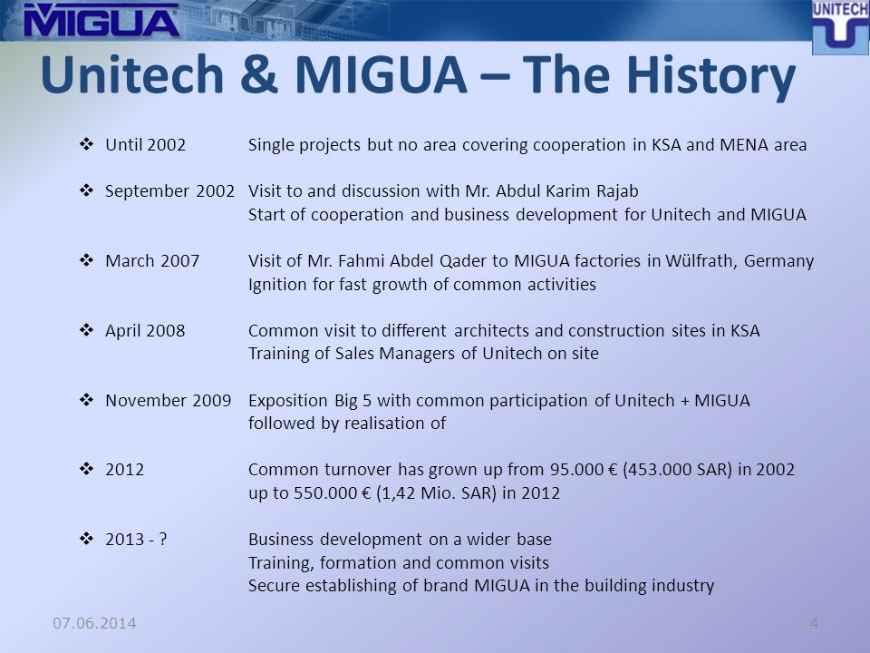 07.06.2014 Unitech & MIGUA – The History Until 2002Single projects but no area covering cooperation in KSA and MENA area September 2002Visit to and discussion with Mr.