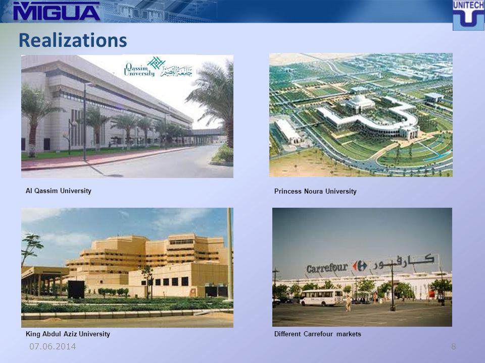 Realizations 07.06.20148 Al Qassim University Princess Noura University King Abdul Aziz UniversityDifferent Carrefour markets