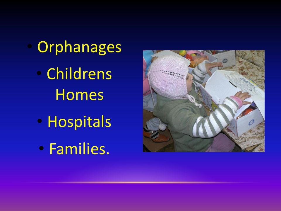 Orphanages Childrens Homes Hospitals Families.