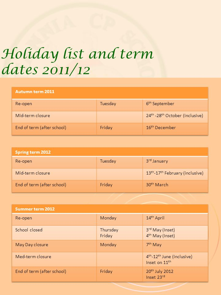 Holiday list and term dates 2011/12